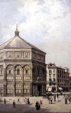 Antonietta Brandeis - A View of the Baptistry in Florence