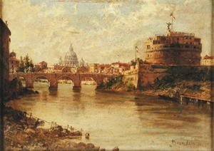 Antonietta Brandeis - Castel Sant'Angelo and St. Peter's from the Tiber
