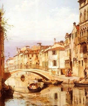 Antonietta Brandeis - A Gondola On A Venetian Backwater Canal