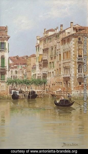 Antonietta Brandeis - A view on a canal in Venice