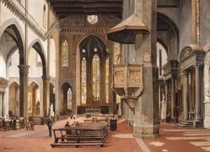 Antonietta Brandeis - The Interior Of Santa Croce, Florence