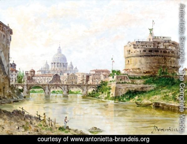 A View Of The Tiber With Castel Sant' Angelo And St Peter'S