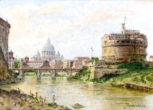 Antonietta Brandeis - A View Of The Tiber With Castel Sant' Angelo And St Peter'S