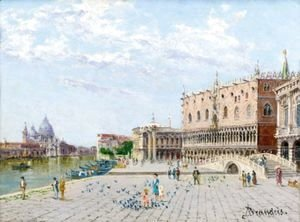 Antonietta Brandeis - View Of The Palazzo Ducale With The Santa Maria Della Salute