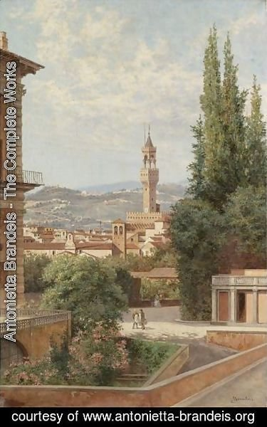 Florence, View Of The Palazzo Vecchio With Fiesole In The Distance