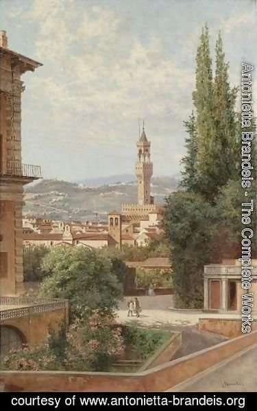 Antonietta Brandeis - Florence, View Of The Palazzo Vecchio With Fiesole In The Distance