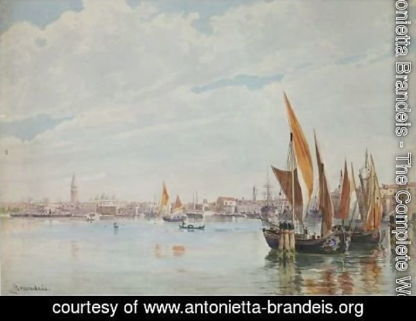 Antonietta Brandeis - Boats On The Lagoon With The Doge's Palace In The Distance