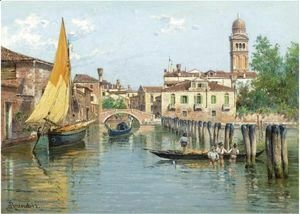 Antonietta Brandeis - Gondolas On A Canal In Venice