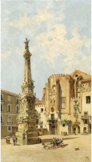 Antonietta Brandeis - A Carriage On Piazza Di San Domenico Maggiore, Naples