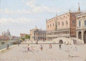 Antonietta Brandeis - Two Views Of Venice La Piazzetta In Front Of The Doge's Palace