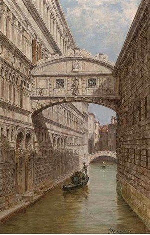Antonietta Brandeis - A gondolier at the Bridge of Sighs
